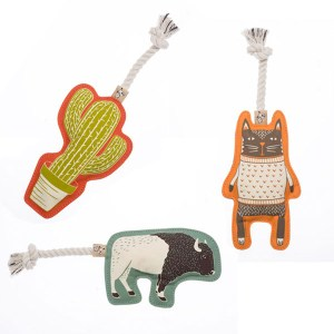 Hundelegetøj i canvas med reb og piv-Bøffel