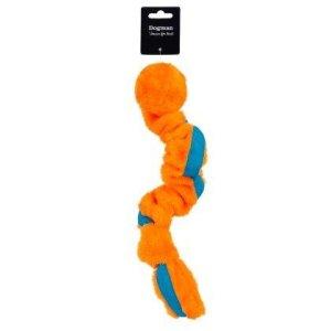 DogMan Stretchig Orange Hundelegetøjs Bold i Plys - Med Stræk - 58cm - Med Pivelyd - - - -