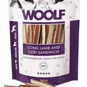 Woolf Hunde Snack Godbidder Sanwich - Med Lam og Torsk - 100g - 97% Kød