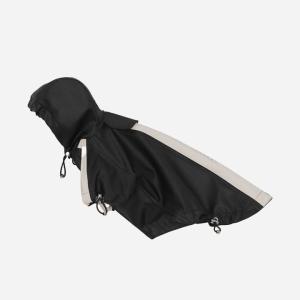 Vandtæt regnjakke m/velcroluk & justerbar hætte - Black (KR02)