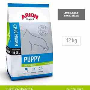 ARION ORIGINAL Puppy Medium Breed, Laks & Ris, 12 kg - incl gratis levering og 2 slags godbidder