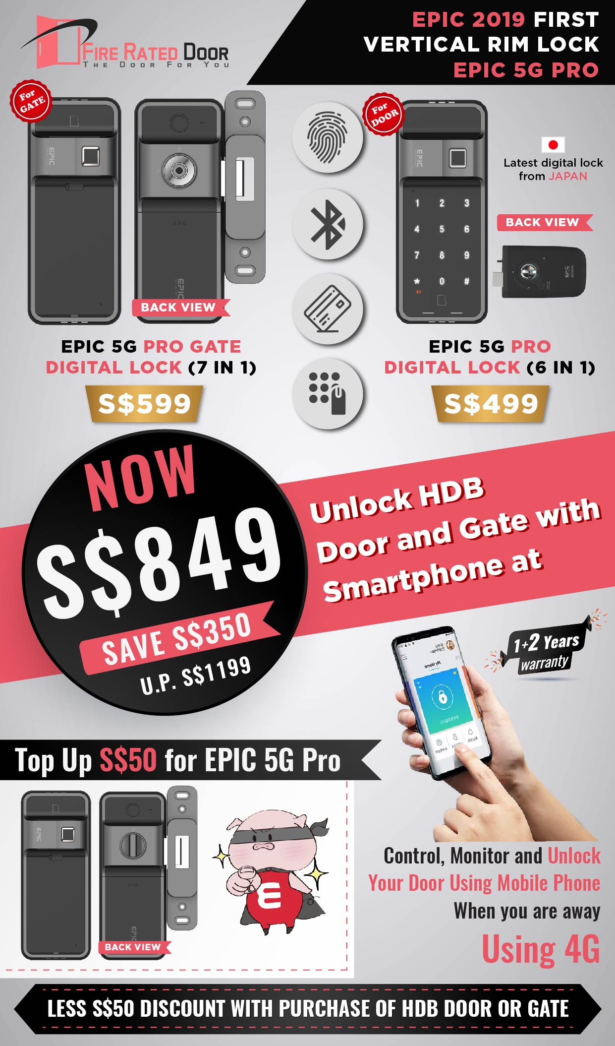 First Vertical Rim Lock EPIC 5G Pro