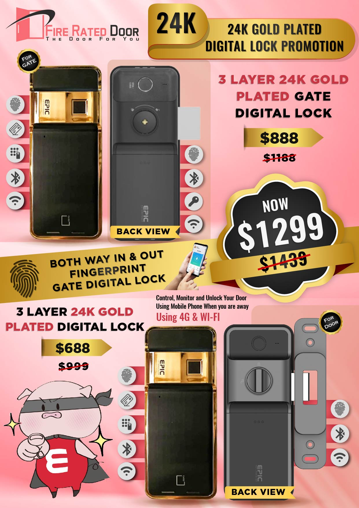 24K Gold Plated Gate and Door Digital Lock Promotions