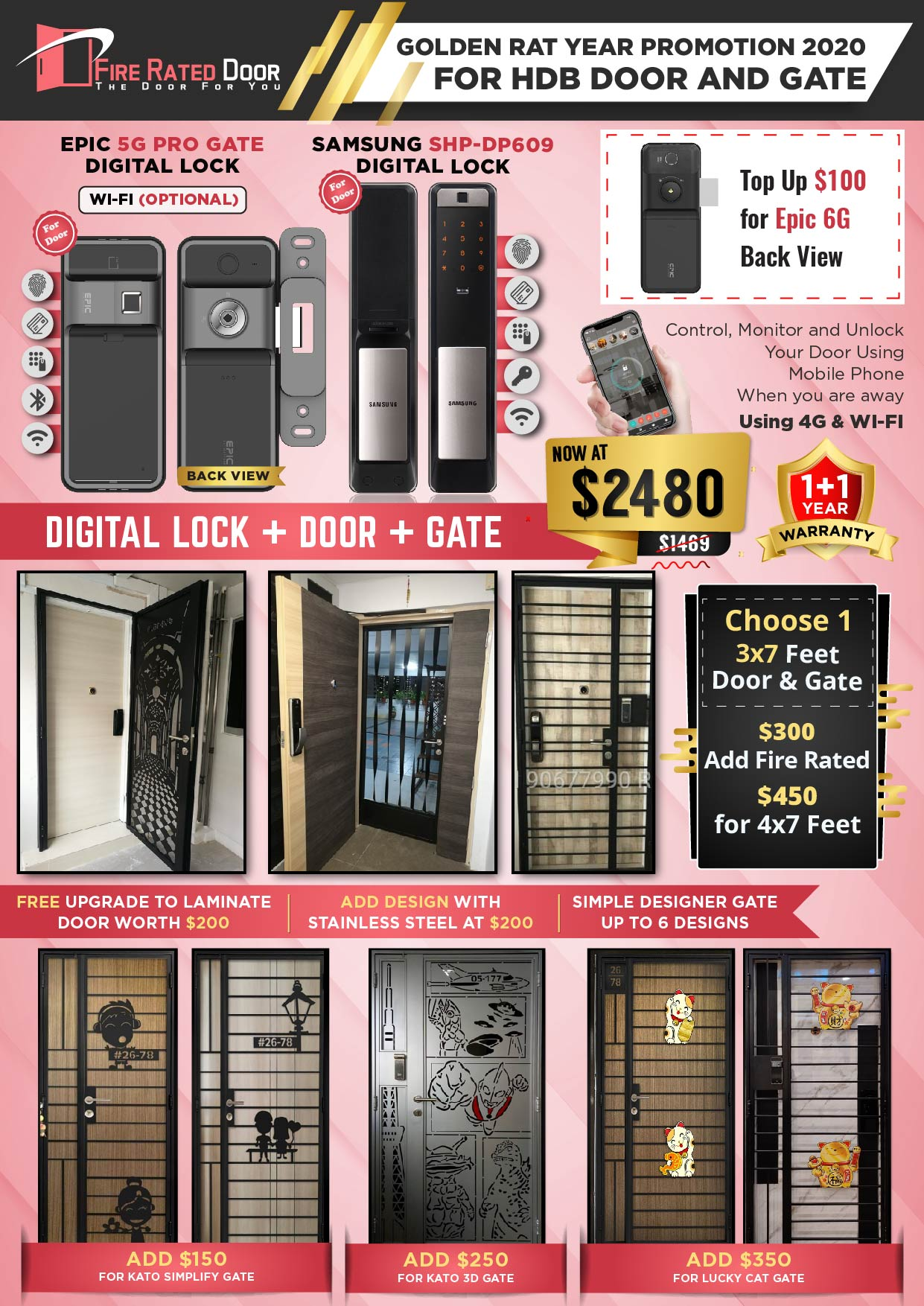 Golden Rat Year HDB Door and Gate Promotion with EPIC 5G PRO and Samsung SHP-DP609 Digital Lock