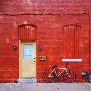 red wall and bike