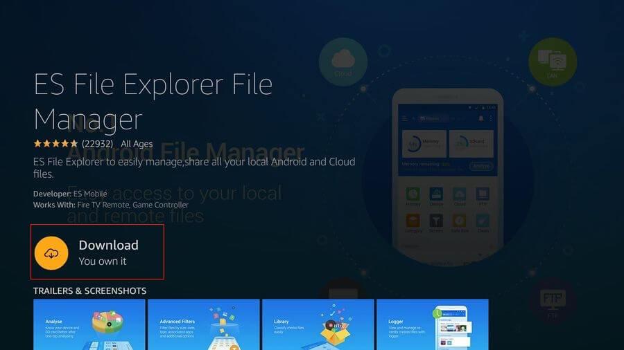 ES File Explore Download on Firestick