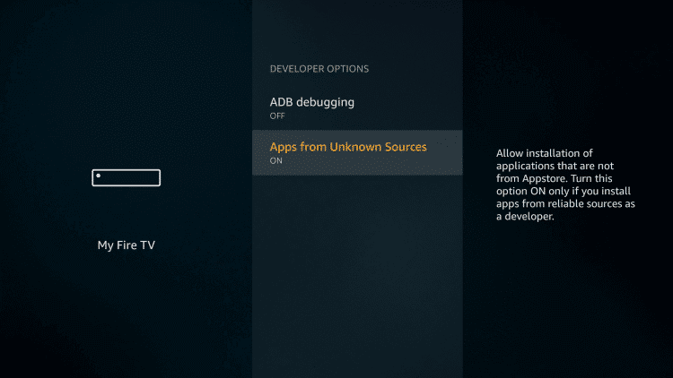 Turn on Apps from Unknown Sources option