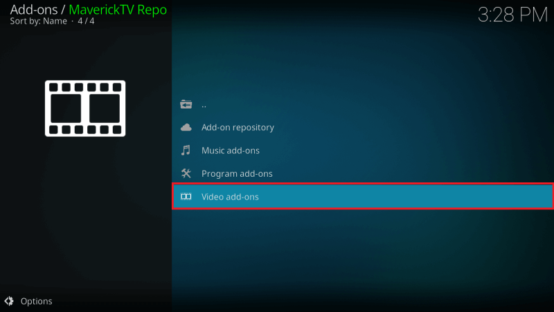 Choose Video Addons option from Maverick TV