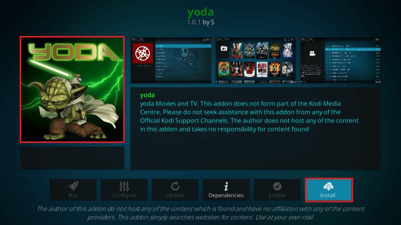 Install Yoda Kodi Addon on Leia