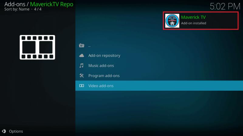 Maverick TV Kodi Addon Installed