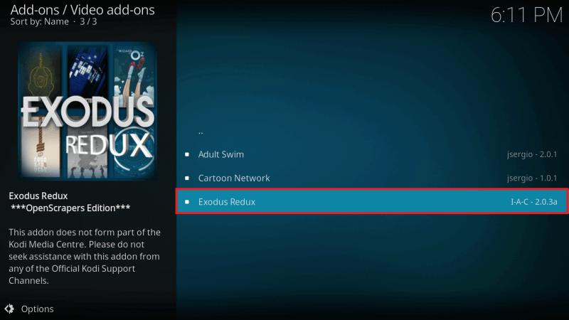 Select Latest Exodus Redux Kodi Addon