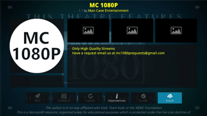 How to Install MC 1080P Kodi Addon on Leia