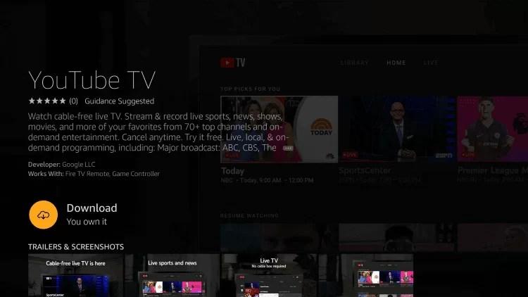 YouTube TV for Firestick