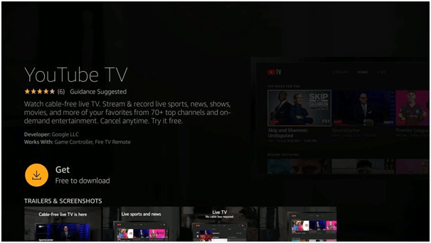 Get button to Install Youtube TV