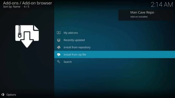 Man Cave Repo installed - Mancave Wizard Kodi Builds