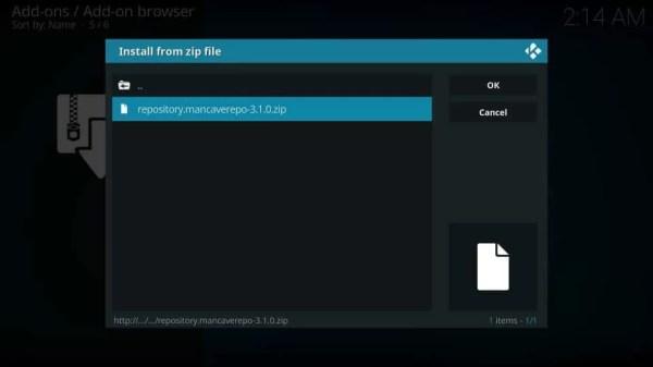 Select the Zip file - Mancave Wizard Kodi Builds