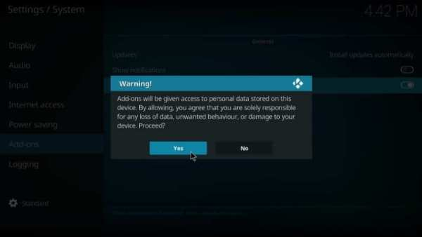 Accept Warning prompt
