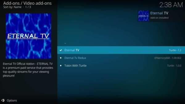 Eternal TV installed