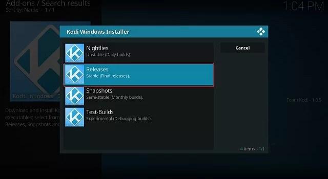 Select Releases - Kodi update