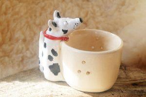 Ptachy Dog Stoneware Tealight Holder