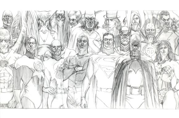 Justice League Sketch Alex Ross Sketchbook 2011 SDCC (p16-17)