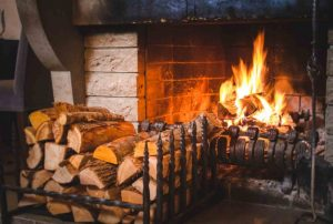 open traditional fire burning kiln dried logs