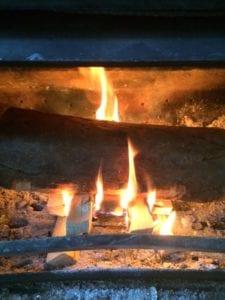 kiln dried log on the fire