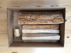 Kiln dried kindling and log with firelighter lid off box