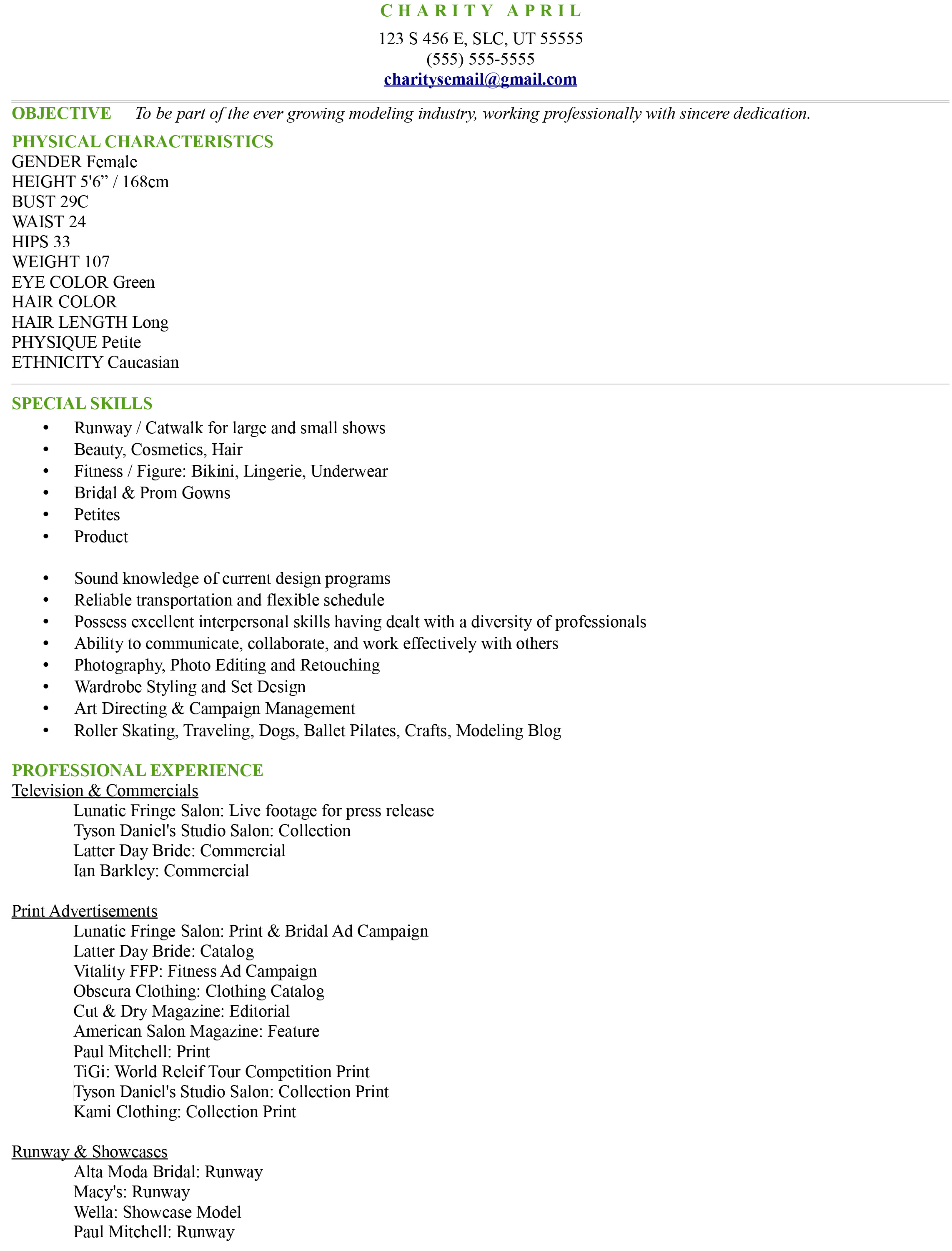 Modeling Resume Sample. model of a resume television reporter ...