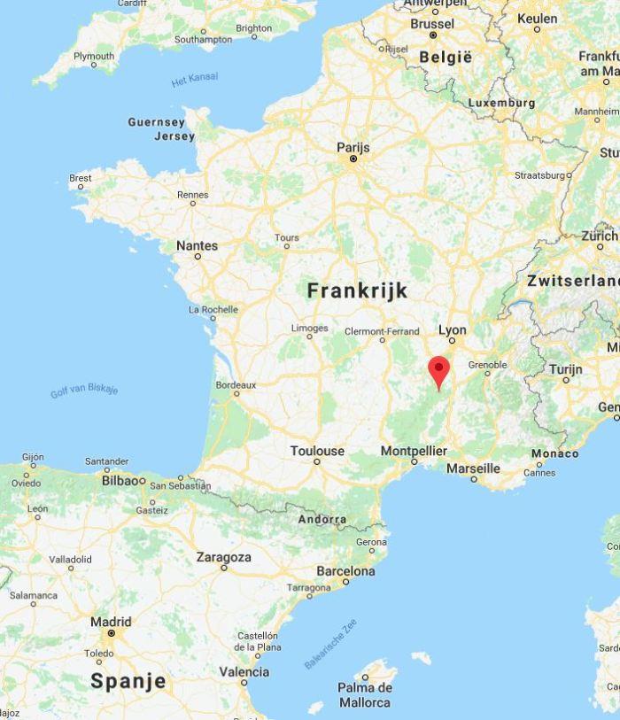 Landkaart Frankrijk met camping Le Pré Coulet te St. Pierreville