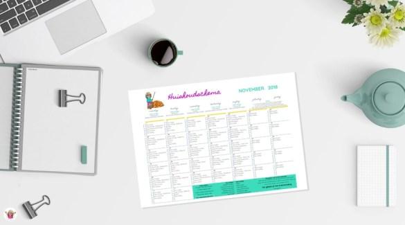 Huishoudschema november 2018 - gratis printable