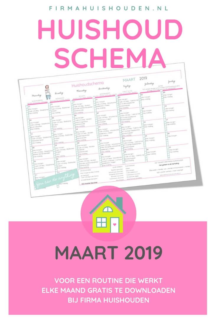 Huishoudschema maart 2019