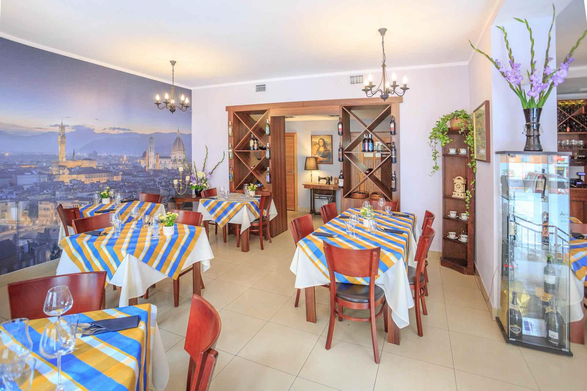 Wnętrza włoskiej restauracji Amici Miei