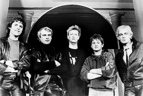 Members of the musical group Yes: Trevor Rabin, left to right, Alan White, Chris Squire, Jon Anderson and Tony Kaye in an 1984 file photo. (Gannett News Service)