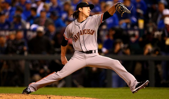 KANSAS CITY, MO - OCTOBER 22: Tim Lincecum #55 of the San Francisco Giants pitches against the Kansas City Royals in the seventh inning during Game Two of the 2014 World Series at Kauffman Stadium on October 22, 2014 in Kansas City, Missouri. (Photo by Dilip Vishwanat/Getty Images)