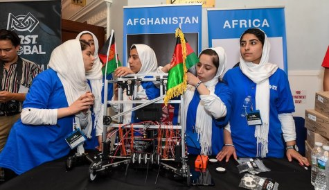 Team Afghanistan working on their robot at the 2017 FIRST Global Challenge in Washington, D.C.