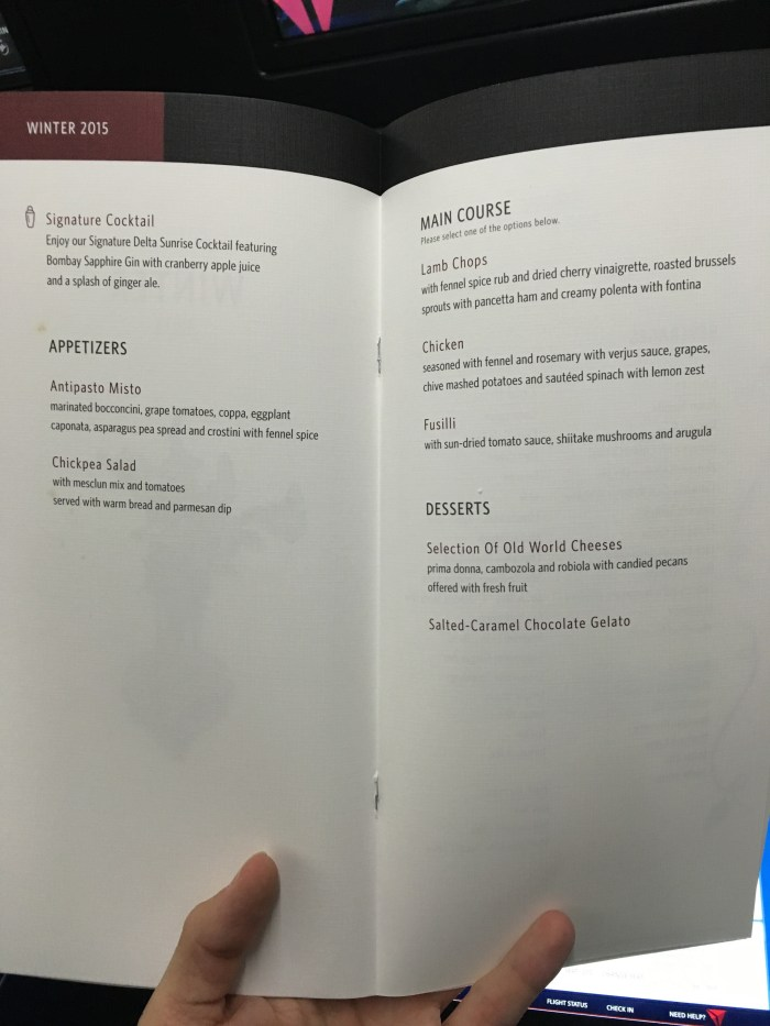 JFK LAX Menu 1