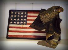 Flag eagle brass