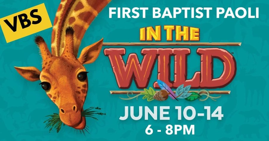 VBS, In The Wild, First Baptist Church, Paoli, Indiana, June 10 - 14, Orange County, Church, Vacation Bible School