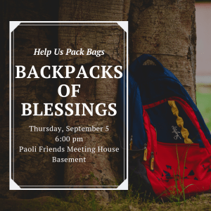 Backpacks of Blessings, church, fellowship, outreach, community, service, love, blessing, children, youth, community