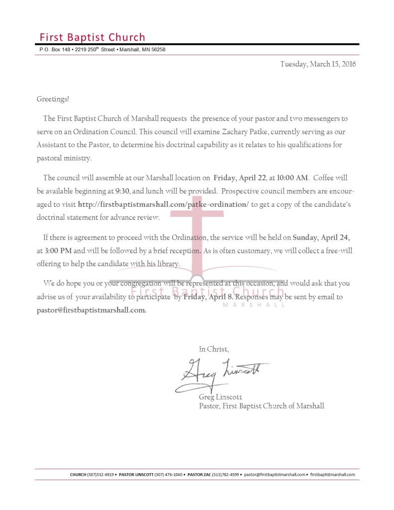 Patke Ordination Letter