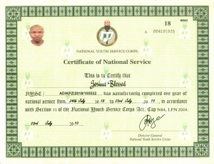 Sample of NYSC Certificate Number