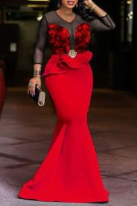 Three-quarter red long sleeve gown