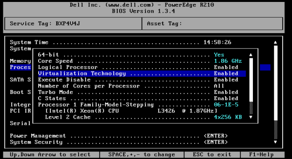 Screenshot: Enable CPU Virtualization
