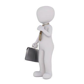 Homme blanc et valise noire, FIRST Compta expert comptable, conseils, audit villefranche