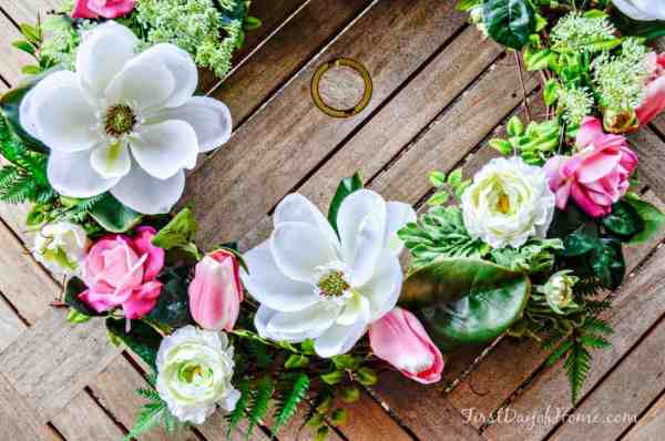 Pink and white florals on wreath