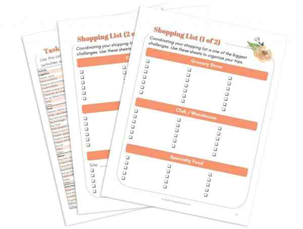 Free Party Planning Printables Shopping List