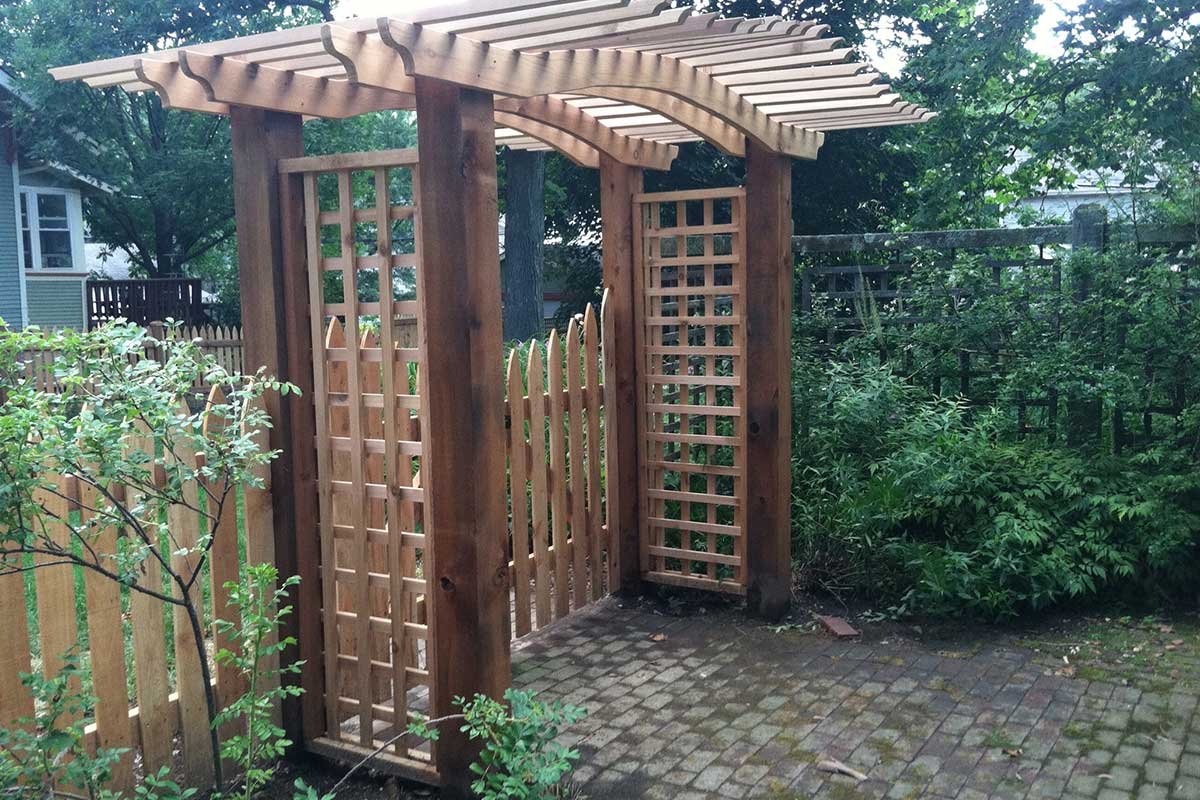 Pergolas Trellis And Custom Woodworking First Fence