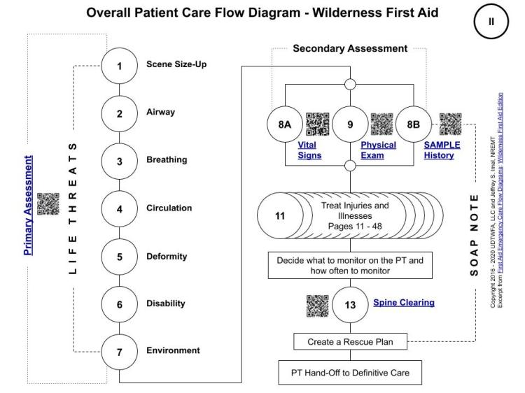 Wilderness First Aid - Overall Patient Care Flow Diagram - Copyright 2016 - 2020 UDTWFA, LLC