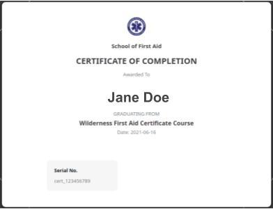 Wilderness First Aid Certificate